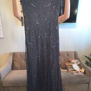Dresses - NEVER WORN Navy Blue beaded ball gown